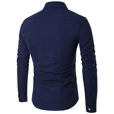 Men Personality Oblique Button Irregular Double Breasted Long Sleeve Shirt