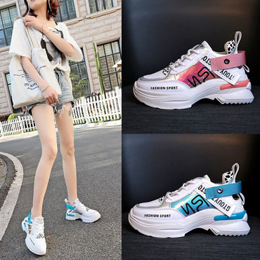 Women Multi Color Thick Sole Chunky Shoes Casual Platform Sneakers
