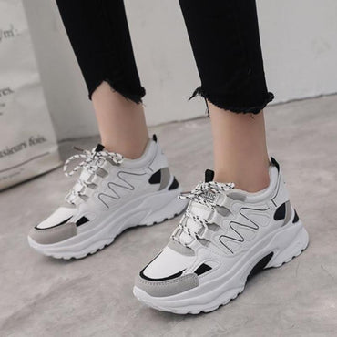 Women's Platform Sneakers Leather Mesh Chunky Fashion Shoes