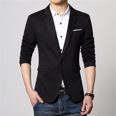 Men Blazer New Fashion Design Slim Fit High Quality Cotton Single Button