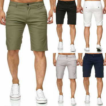 Hot Selling Men Slim Fitness Solid Color Cotton Shorts