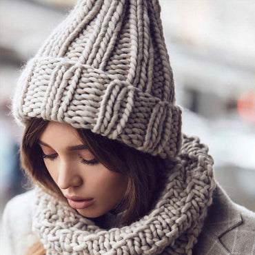 Women Hand Made Knitting Hat High Quality Winter Warm Thick Soft Beanie