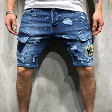 Fashion denim shorts for men embroidered hip-hop style