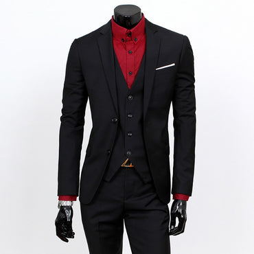 New Fashion Men Suit Set 3 Pieces With Vest Pants Slim Fit Cotton Blended Trendy Style