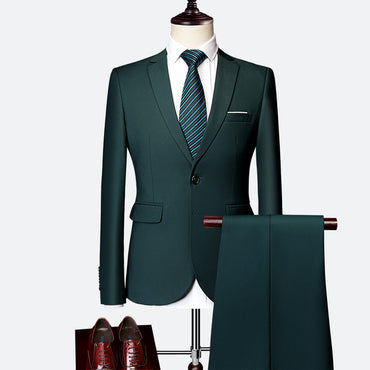 Luxury Men Formal Suit Set Gentleman Fashion British Custom Made Slim Fit Suit
