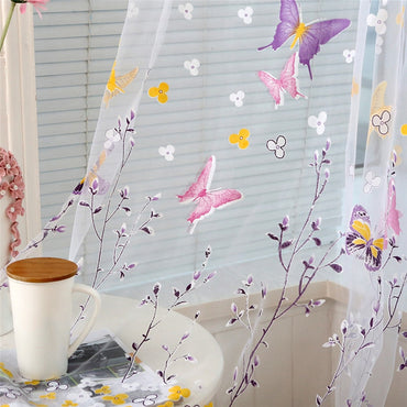 Butterfly Branches Printed Tulle Screening Decor Burnout Voile Curtain