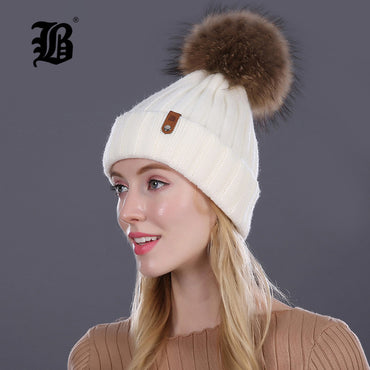 Women Beanie Real Mink Fur Pom Poms Hat Ball Wool Cotton Knitted