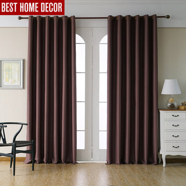 Modern blackout treatment drapes solid finished curtains
