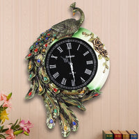 Fashion resin peacock wall clock vintage diamond Large mute personality