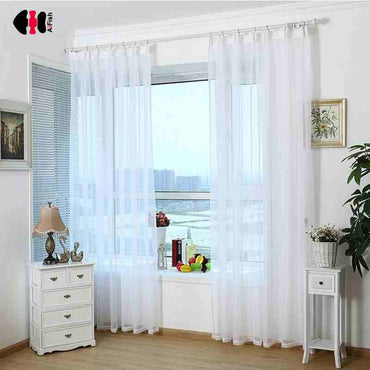 Pure Transparant Solid Sheer Tulles High Thread Modern Voile Single Panel Curtain