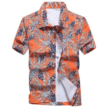 Men Fashion Hawaiian Slim Fit Short Sleeve Floral Shirt