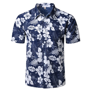 Men Hawaiian Brand Design Short Sleeve Floral Shirt