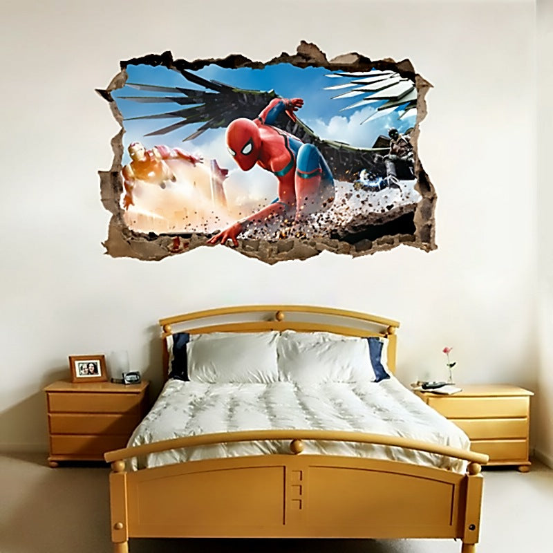 3d effect spiderman wall stickers for kids rooms