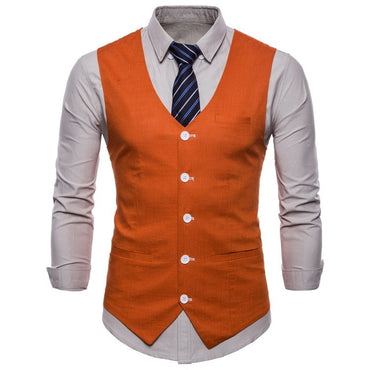 Men Suit Vest Slim Fit Single Breasted British Designer Formal Vest