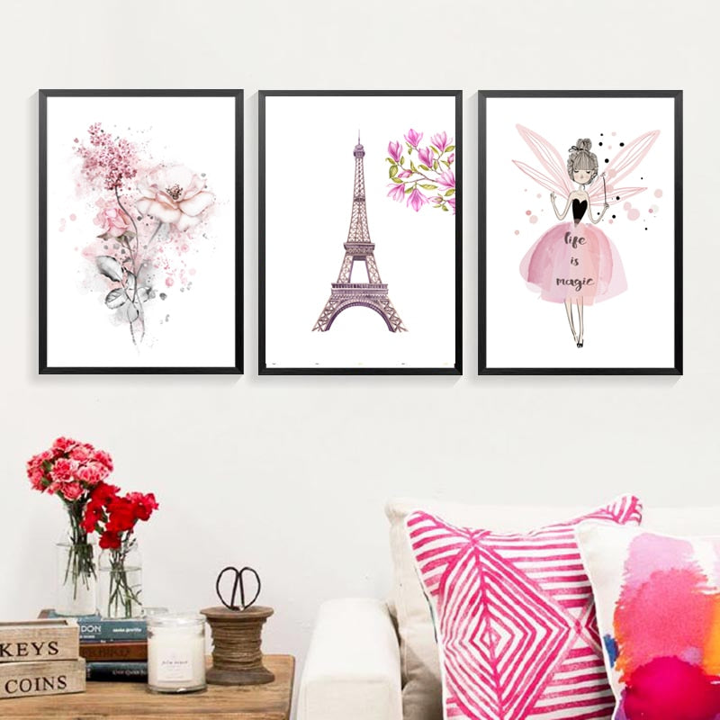 Watercolor Pink Princess Paintings Canvas Flowers Wall Art Poster Nordic Pictures