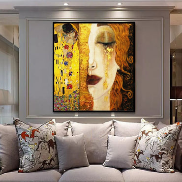 Famous Gustav Klimt Golden Tears And Kiss Paintings Canvas Wall Art Picture