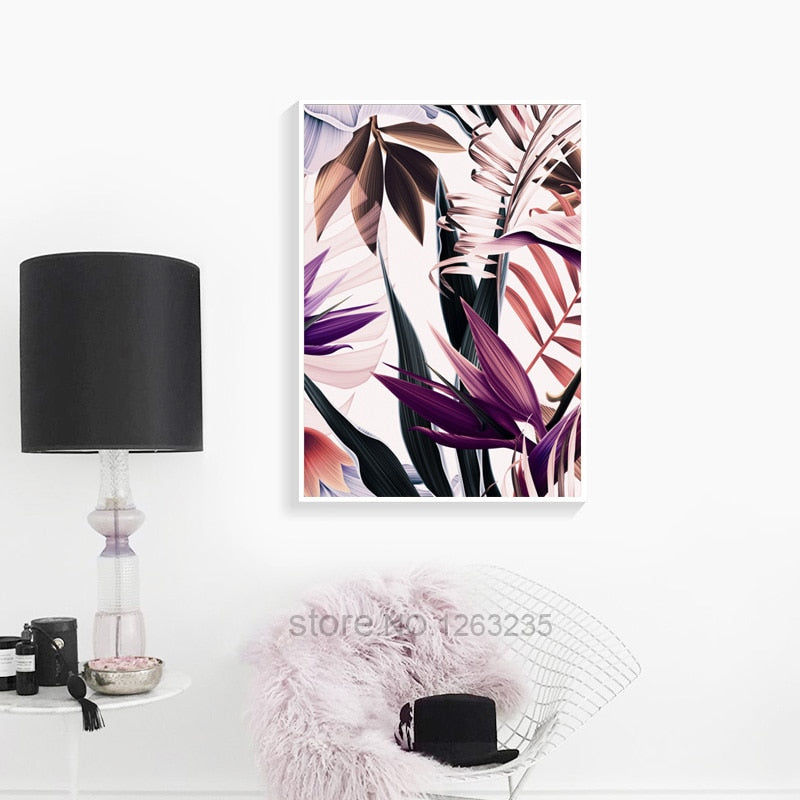 Colorful Leaves Poster Nordic Wall Art Canvas Painting