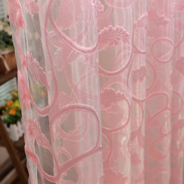 American style jacquard floral design sheer tulle fabric modern ready made curtain