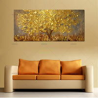 Hand Painted Knife Gold Tree Oil Painting Modern Abstract Wall Art Pictures
