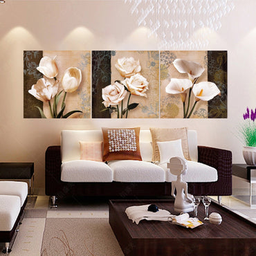Modern 3 piece Flower Hd Print on Canvas oil Painting  Wall pictures