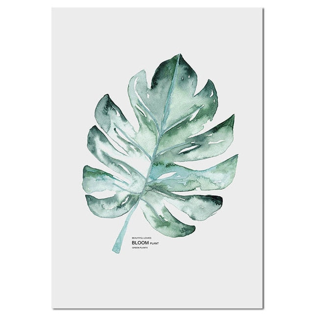 Watercolor Plants Leaf Canvas Poster Nordic Style Print Scandinavian Wall Art Painting Decoration Pictures