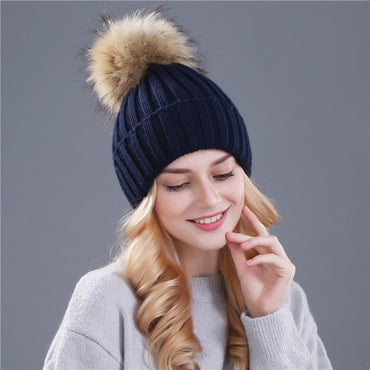 Mink and Fox Fur Ball Pompoms Winter Hat For Women Thick Warm Wool Handmade Knitted