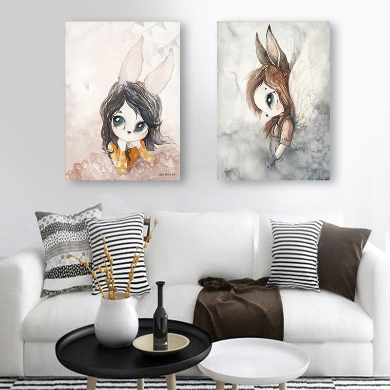 Nordic Canvas Painting Wall Art Rabbit Girl Animal Abstract Watercolor Picture