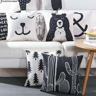 Black And White Cute Bear Cushion Case Lovely Cartoon Animal Cactus Plant Geometric