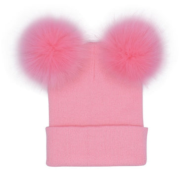 Cute Fur Ball Pompoms Winter Hat For Women Wool Knitted Beanie