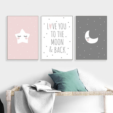 Baby Nursery Quote Canvas Poster Moon Star Cartoon Wall Art Children Room Decor