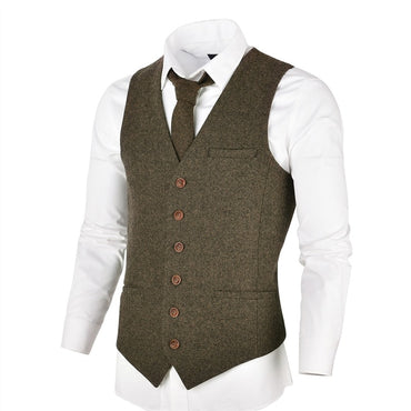 Men Suit Vest Vintage Fashion Single-breasted Slim Fitted Wool Tweed