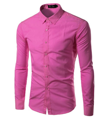 Men Fashion Long Sleeve Solid Color Dress Shirt
