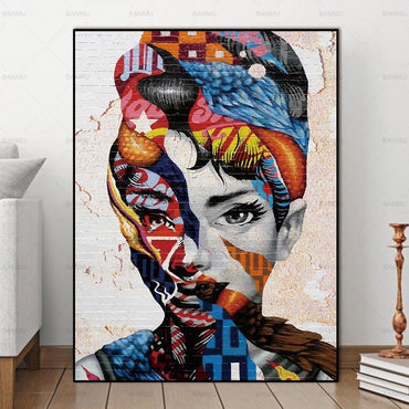Abstract painting colorful girl wall art picture