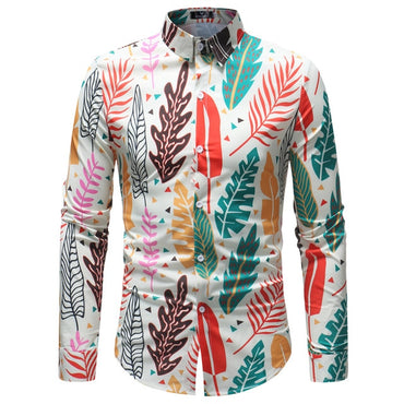 Men Hawaiian Long Sleeve Floral Print Dress Shirt