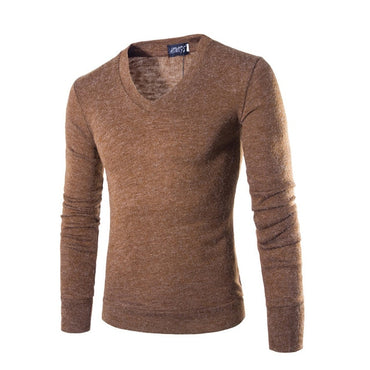 Men Knitting Sweater Fashion V-Neck Striped Slim Fit Knit Sweater