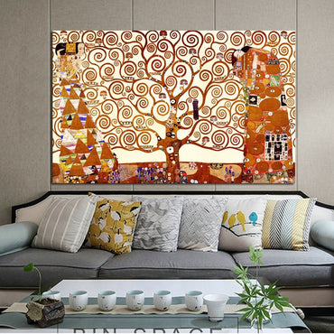Classical Famous Painting The Tree of Life by Gustav Klimt Wall Art Decor