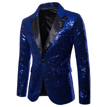 Men Blazer Suit Shiny Gold Sequin Embellished Party Costume