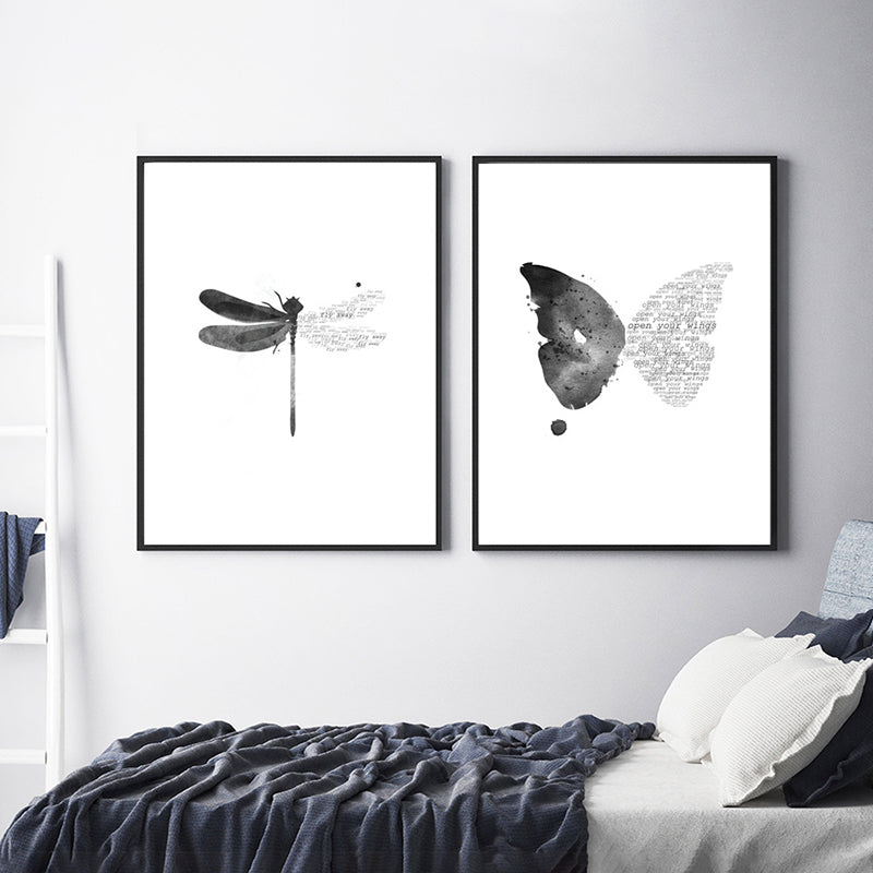 Nordic Style Wall Art Dragonfly Canvas Painting Butterfly Poster Black and White Minimalism Decorations Picture