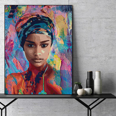 Abstract figure portrait art colorfull girl wall painting