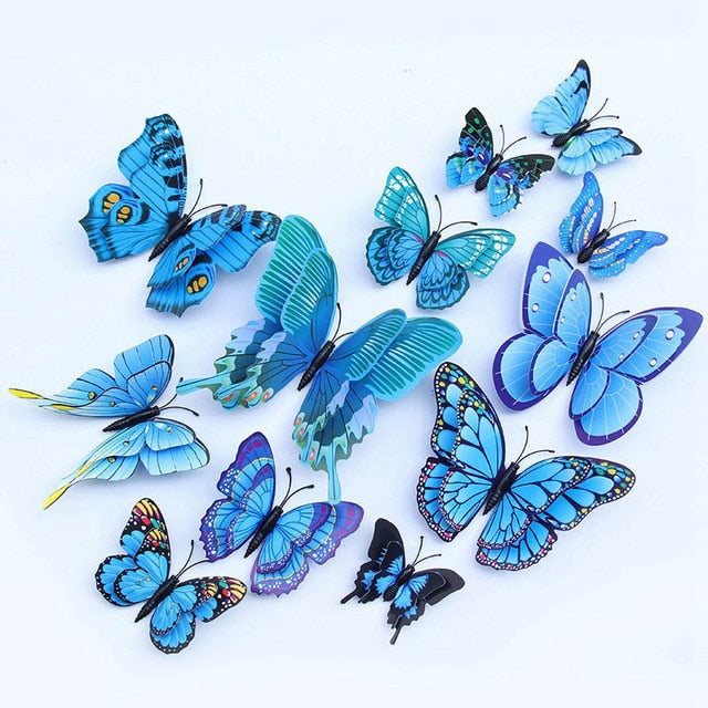 12pcs Multicolor Double Layer Wings 3D Butterfly Wall Sticker