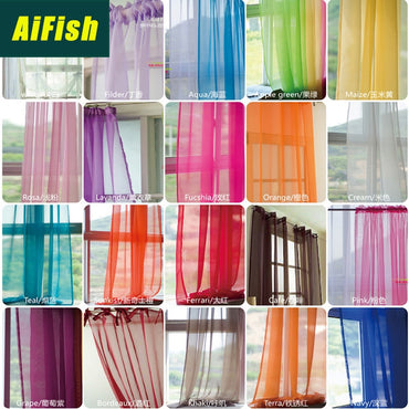 European and American Style Screening SolidDrape Panel Sheer Tulle Curtain