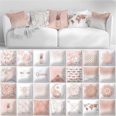 Rose Gold Geometric Pineapple Glitter Sofa Decorative Cushion