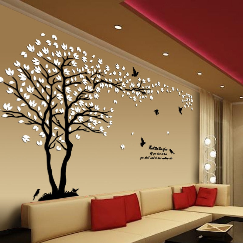 New arrival Lovers tree Acrylic crystal wall stickers DIY art wall decor