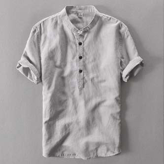 New Arrival Men Short Sleeve Loose Thin Cotton Linen Shirt