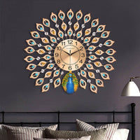 Modern Luxury 3D Diamond Crystal Quartz Peacock Wall Clock
