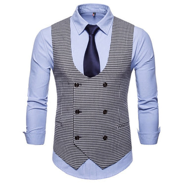 Gentleman Style Men Suit Vest Vintage Fashion U-shaped Collar Houndstooth Formal Vest