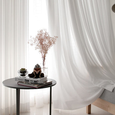 White Tulle Modern Chiffon Solid Sheer Voile Kitchen Curtain