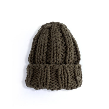 Women Winter Hat Thick Warm Pure Color Curled Coarse Wool Knitted Handmade
