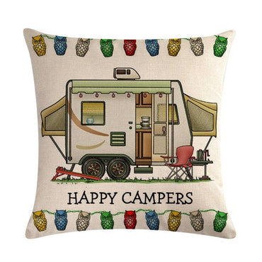 Happy Campers Car Pillow Case Cotton Linen Sofa Home Decorative Cushion