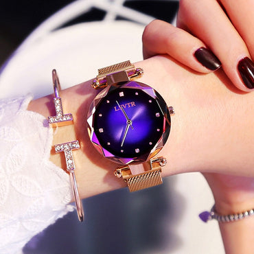 Luxury Rose Gold Women Fashion Diamond Starry Sky Magnet Waterproof  Wristwatch